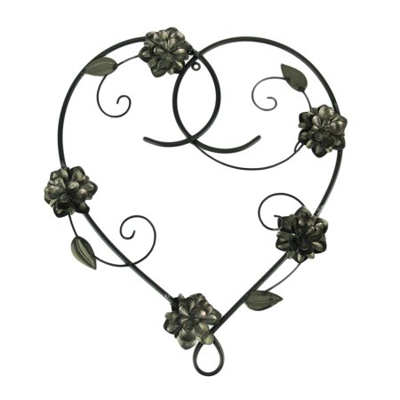 Metal Heart and Flowers Decorative Wall Sculpture ()