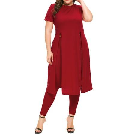 Cocktail Jumpsuit (Plus Size Women Ladies 2 Pcs Sets Short Sleeve Shirt + Trousers Split Hem Jumpsuit Party Cocktail)