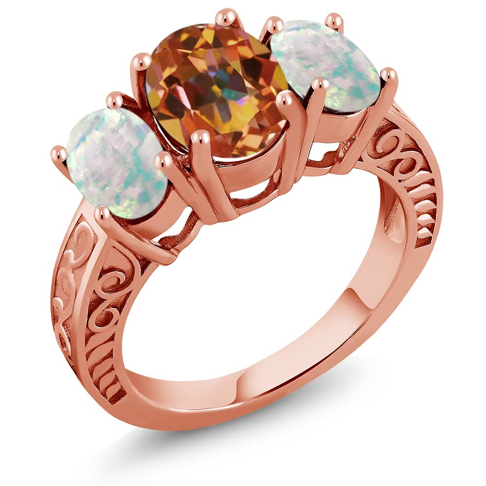 3.06 Ct Ecstasy Mystic Topaz and Simulated Opal 18K Rose Gold Plated Silver Ring by
