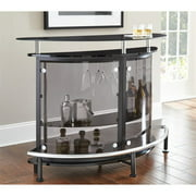 Ariana Home Bar with Brown Smoked Tempered Glass Shelves