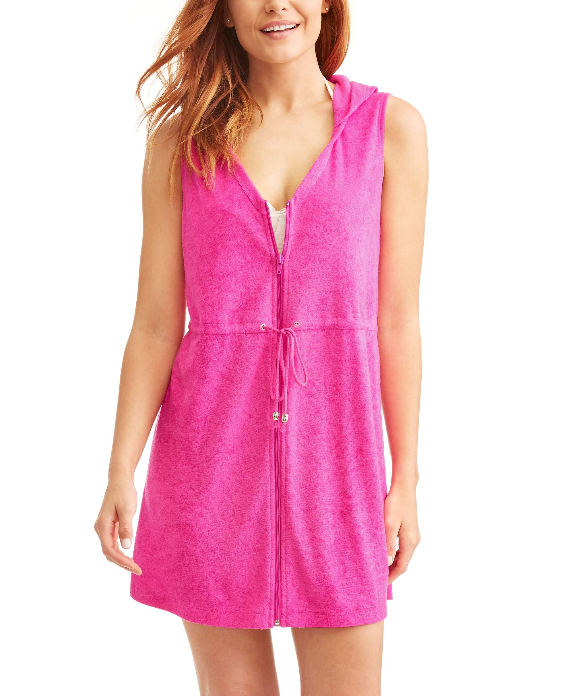 Women's Zip-Front Hooded Terry Swim Cover-Up