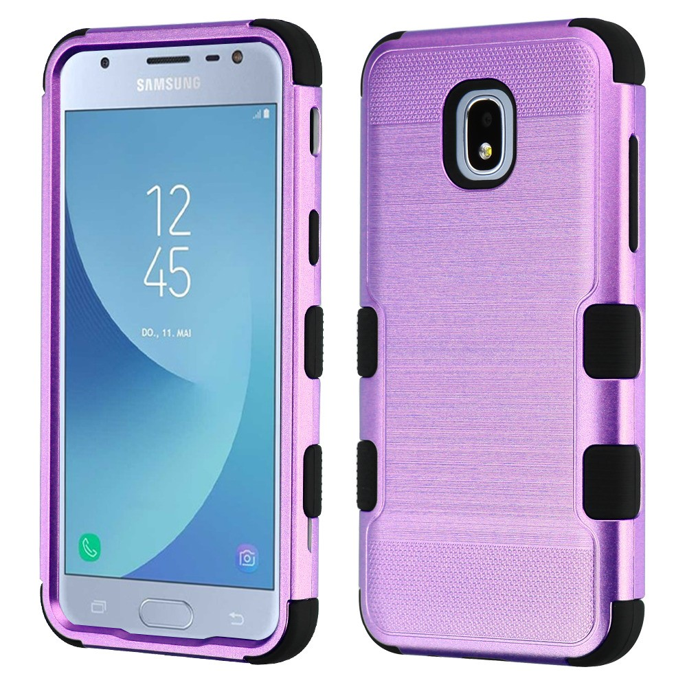 TUFF Hybrid Series Military Grade Certified Metallic Brushed Slate Finish Phone Protector Cover Case and Atom Cloth for Samsung Galaxy Amp Prime 3 (Cricket) - Purple/Black