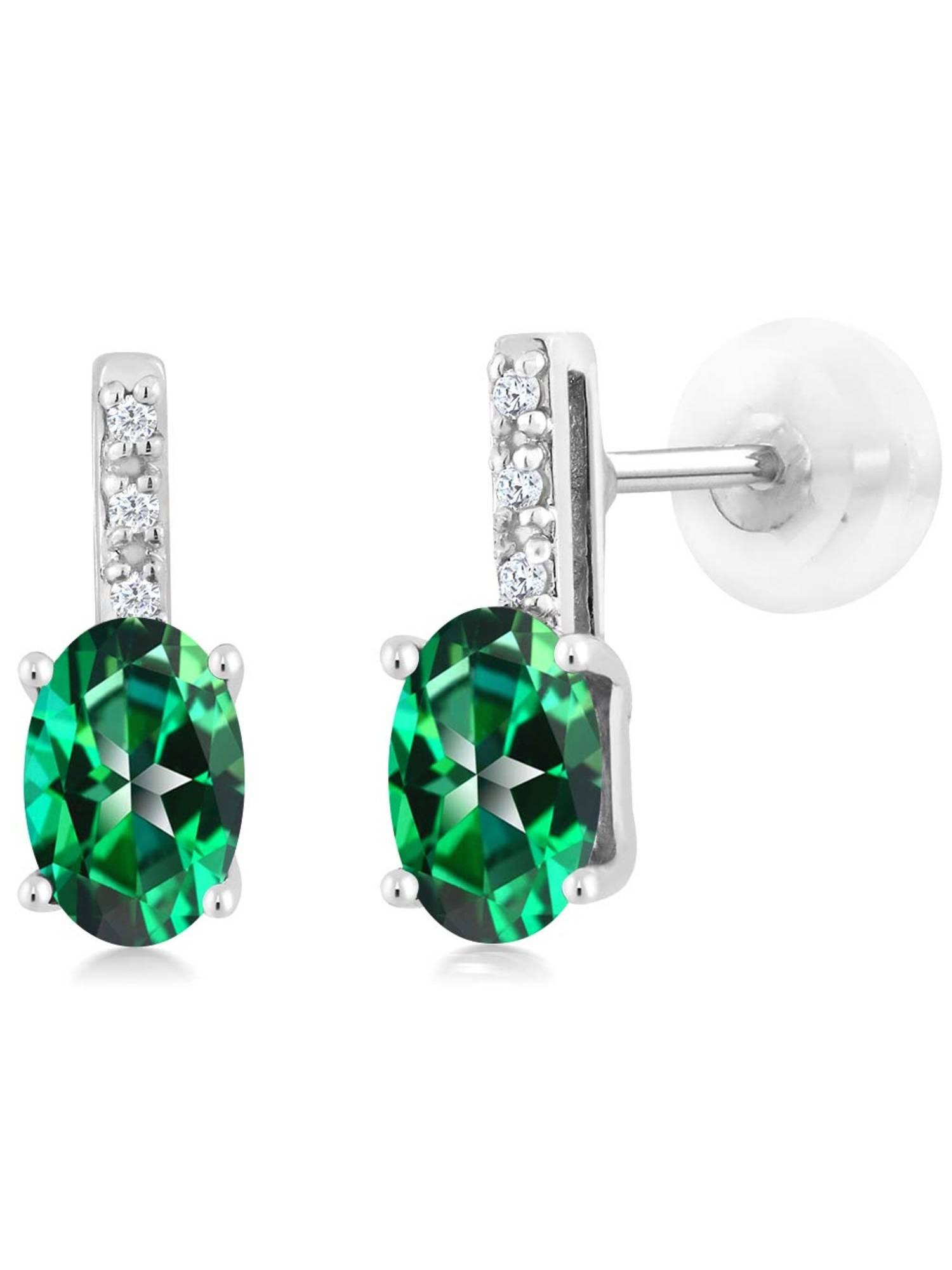 10K White Gold Diamond Earrings Set with Oval Rainforest Topaz from Swarovski by