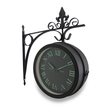 Double Sided Glow In The Dark Wall Clock W Decorative