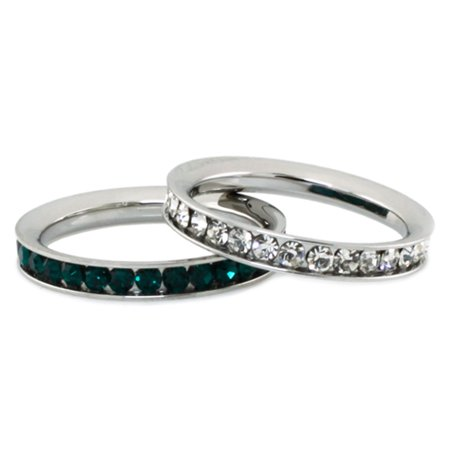 Stainless Steel Eternity 3 mm Clear & Emerald Color Crystal Stackable Rings (2 pieces) Set