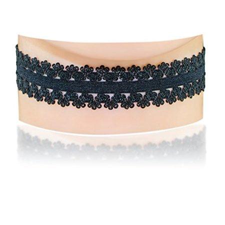 Jewels fashion Fancy Black Floral Stretchy Elastic Lace Choker Necklace -- Size Large (Black Lace)