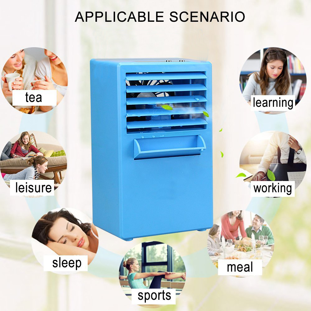 iMeshbean 3 speed Portable Table Air Conditioner Air Conditioning Fan Touch Control, Blue