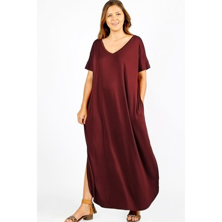 JED FASHION Women's Plus Size Comfy Fit V-Neck Maxi Casual Dress - Sugar Plum Fairy Dress