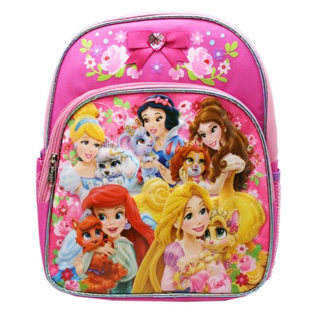 Disney Princess Luggage (Disney Princess Matching Pets Floral Pink Colored Small Kids Backpack (12in))