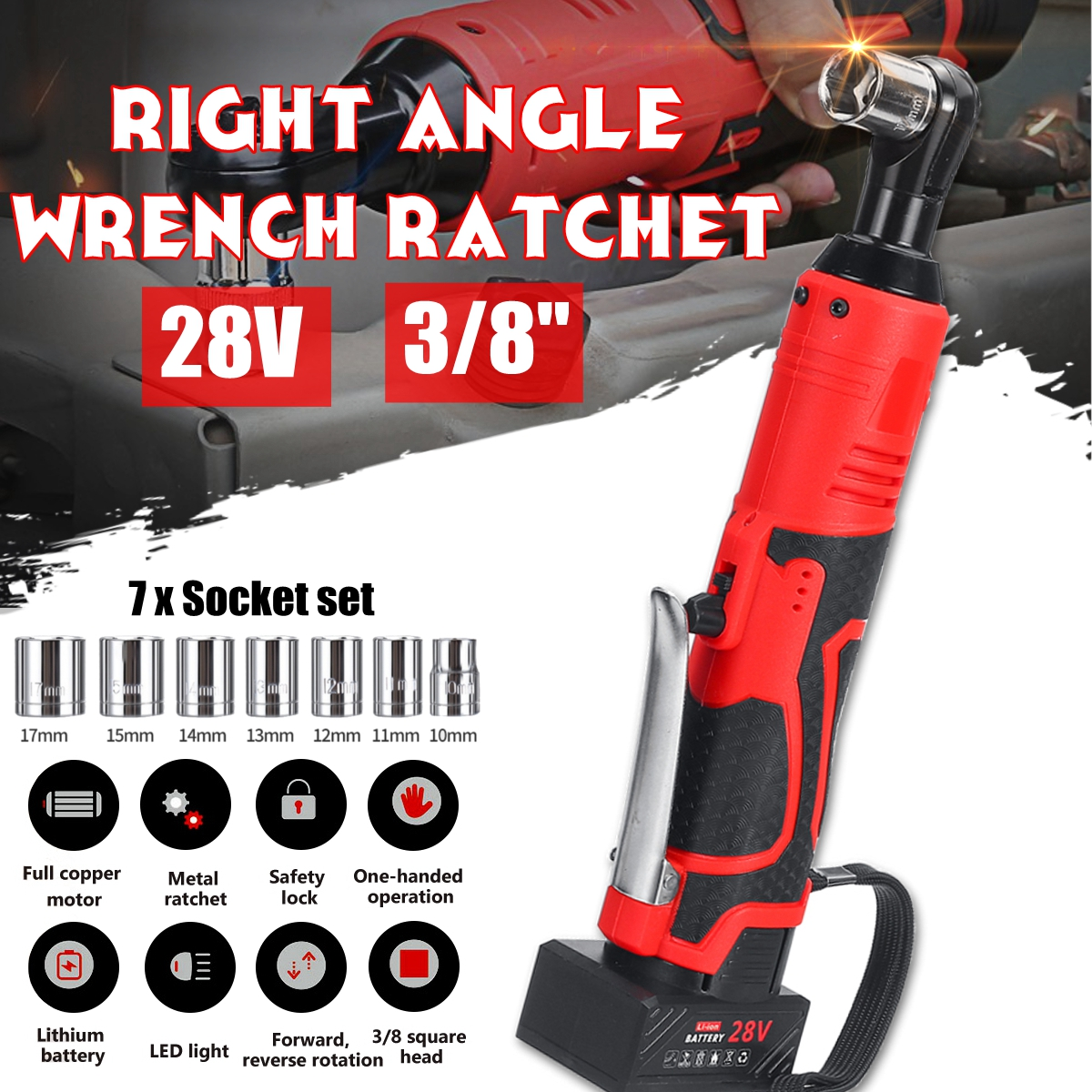 2 x 1500mAh Batteries 28V 3//8 Electric Cordless Ratchet Right Angle Wrench DIY Tool w//Reverse /& Forward Function