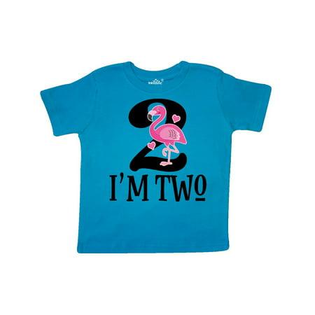 2nd Birthday Party Girls Flamingo Toddler T Shirt