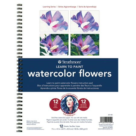 Strathmore Learning Series Watercolor Pad, 28 Sheets, Flowers