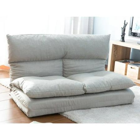 Fabric Folding Chaise Lounge Floor Sofa(Gray)