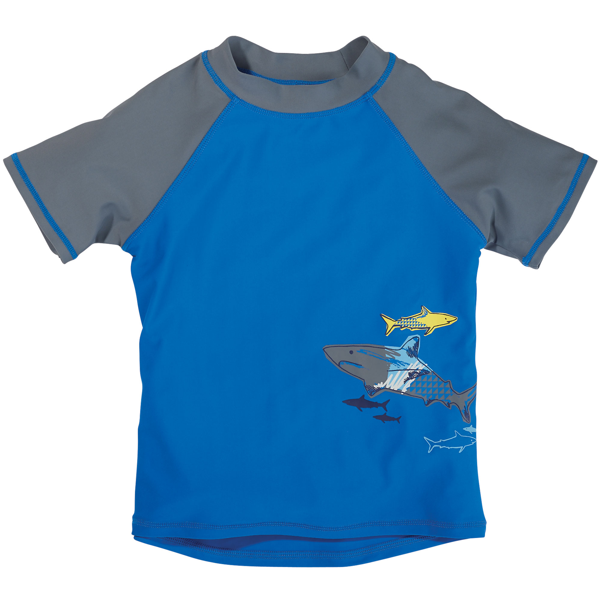 Sun Smarties Little Boy Rashguard - Blue and Gray with Shark Design - UPF 50+ Short Sleeve Swim Shirt
