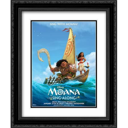 Moana 20X24 Double Matted Black Ornate Framed Movie Poster Art Print
