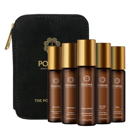 Poiema Essential Oil Variety Set with Pouch - 5 roll-on Topical Essential Oils - Therapeutic Grade