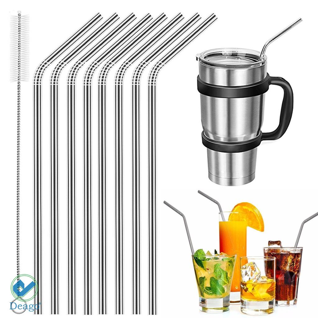Deago Set of 8 Stainless Steel Straws Ultra Long 10.5 Inch Drinking Metal Straws For Tumblers Coffee Juice Cold Beverage (4 Straight & 4 Bent & 2 Brushes & 8 Silicone Tips)