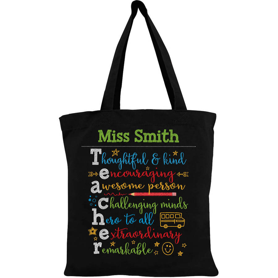 Colorful Teacher Appreciation Personalized Tote Bag
