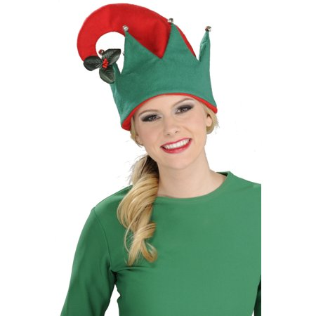 Mistle Toe Hat (Christmas Red And Green Elf Festive Hat With Mistletoe Costume)