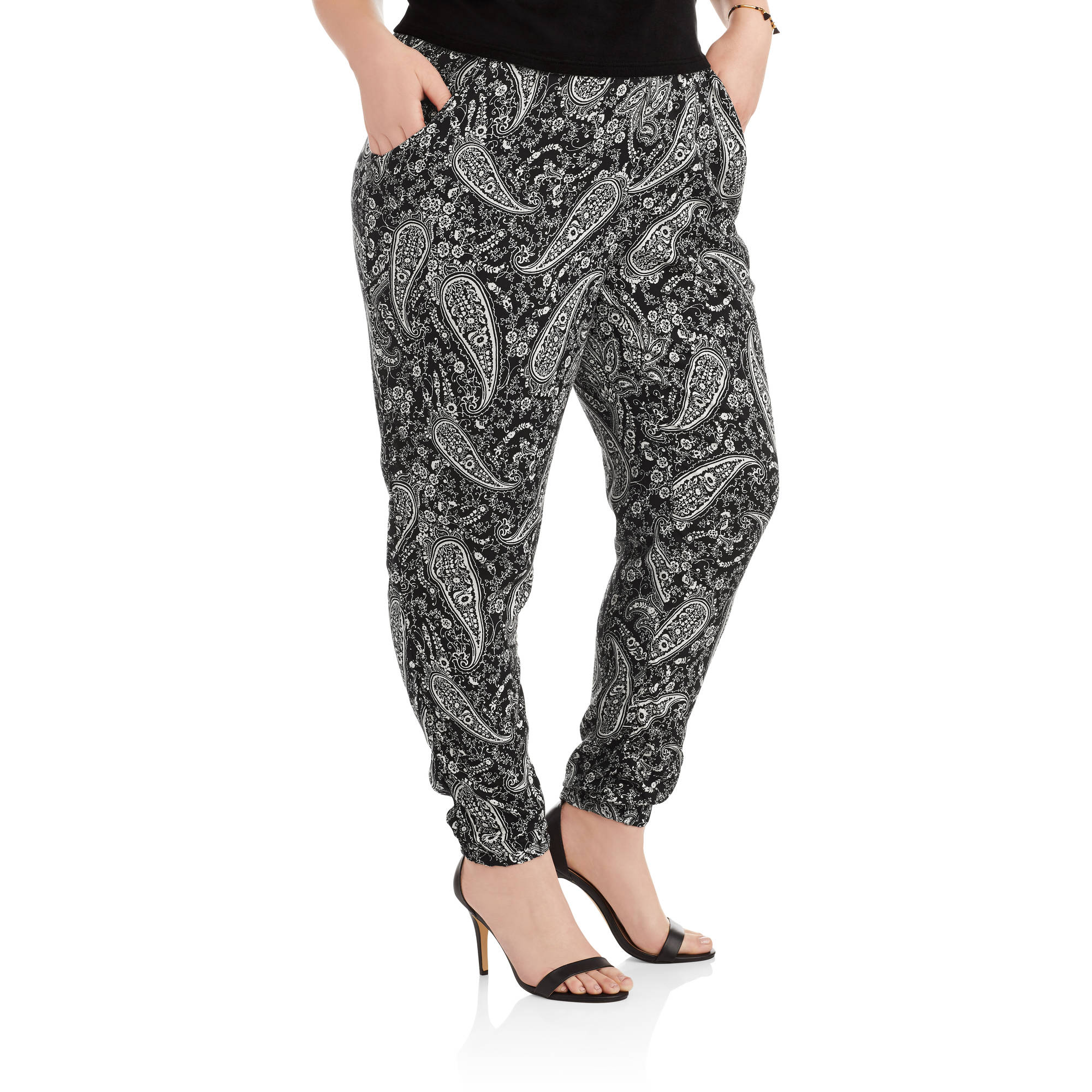 One Step Up Women's Plus Elastic Waist Printed 2-Pocket Jogger