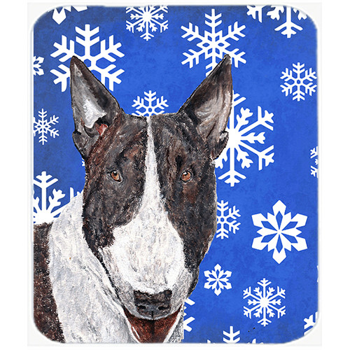 The Holiday Aisle Bull Terrier Snowflake Glass Cutting Board