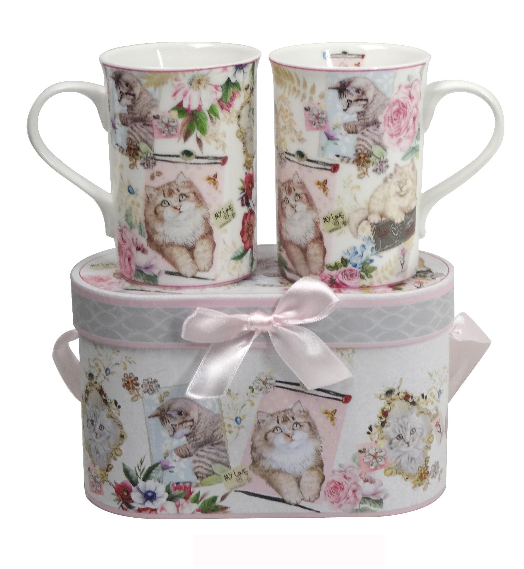 Lightahead Elegant Bone China Two 11.2 oz Mugs in Cat, Kitten Design by Lightahead®