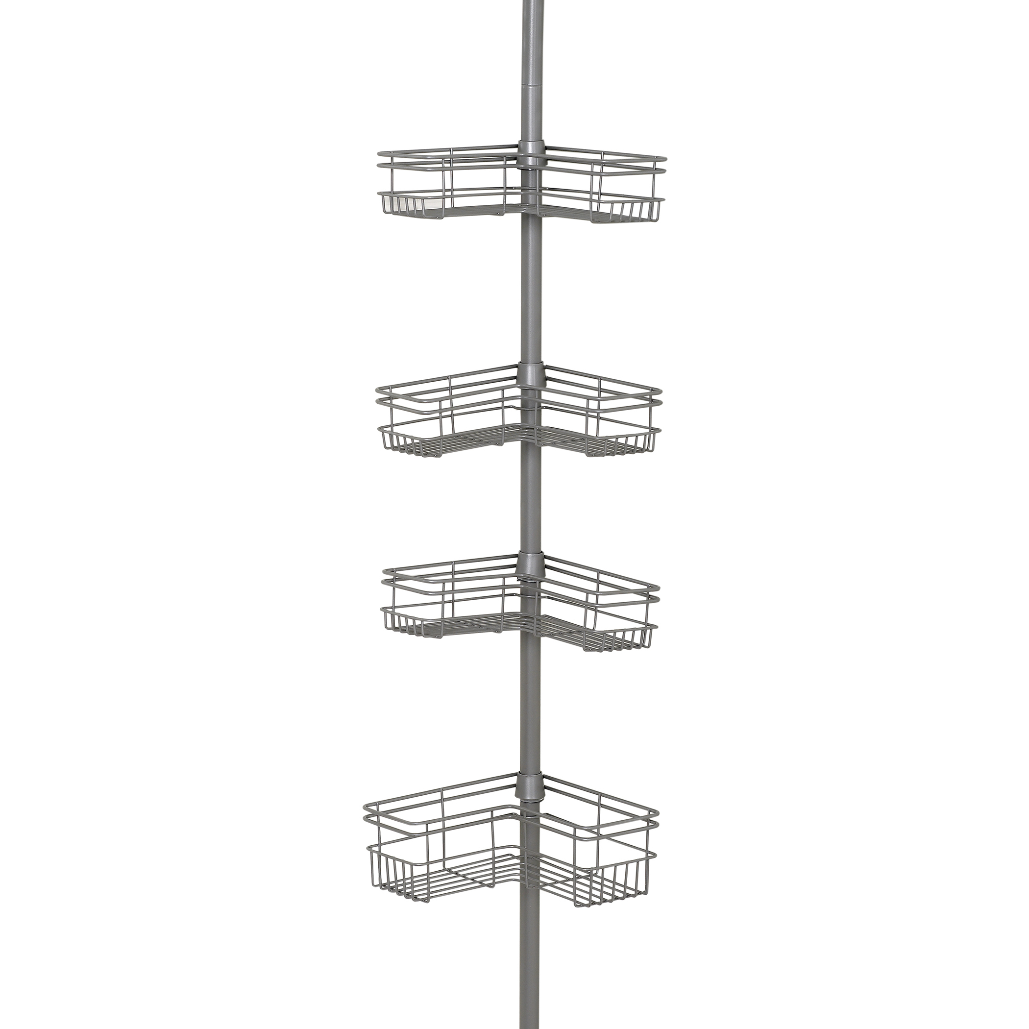 Zenna Home L-Shaped Tension Corner Pole Shower Caddy, Satin Nickel