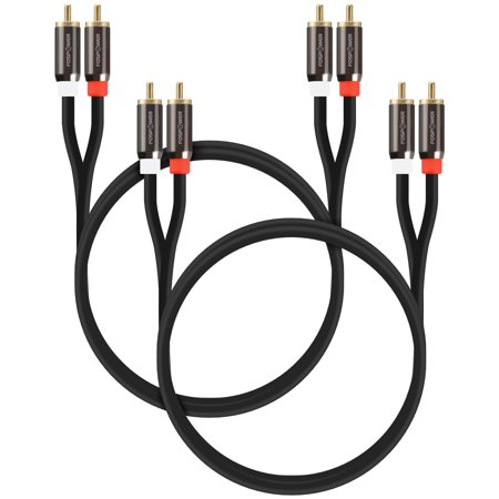 FosPower 2 Pack [24K Gold Plated   Copper Core] 2RCA Male to 2RCA Male Stereo Audio Cable (Core Audio Cables)