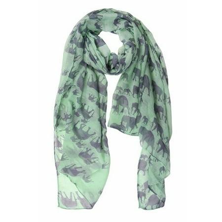 Elephant Wrap - Peach Couture Chic Trendy Lightweight Animal Print Elephant Wrap Scarf Shawl