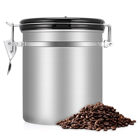 Stainless Steel Coffee Canister 16 Oz Beans Ground For Fresher Container Built