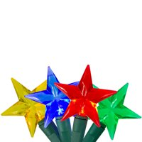 25 Multicolor LED Stars Mini Christmas Lights - 8 ft Green Wire