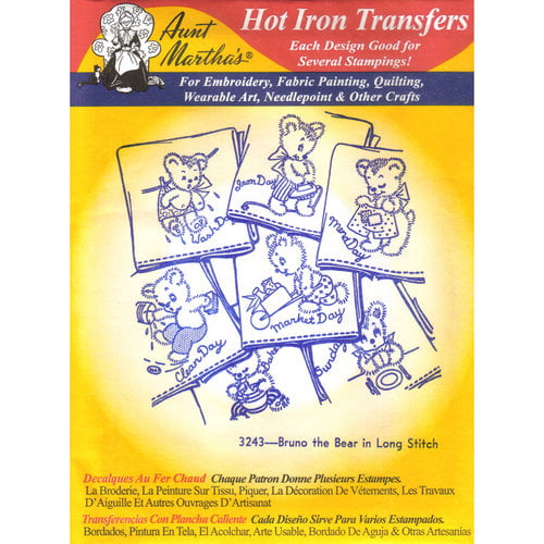 """Aunt Martha's 18"""" x 24"""" Days of the Week Hot Iron Transfers, 1 Each"""