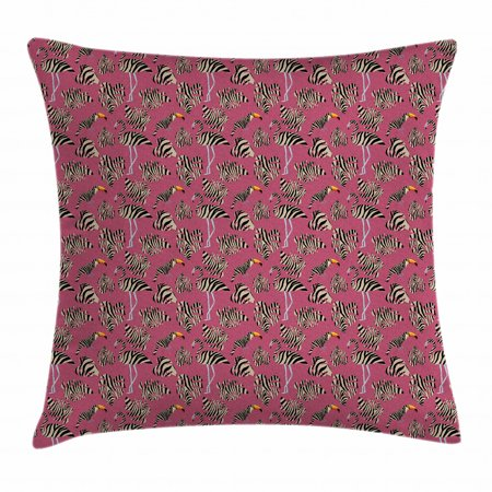 Pink Zebra Throw Pillow Cushion Cover, Flamingos Toucans Large Tropical Leaves in Zebra Stripes Trippy Illustration, Decorative Square Accent Pillow Case, 16 X 16 Inches, Pink Tan Black, by Ambesonne Large Tropical Leaf