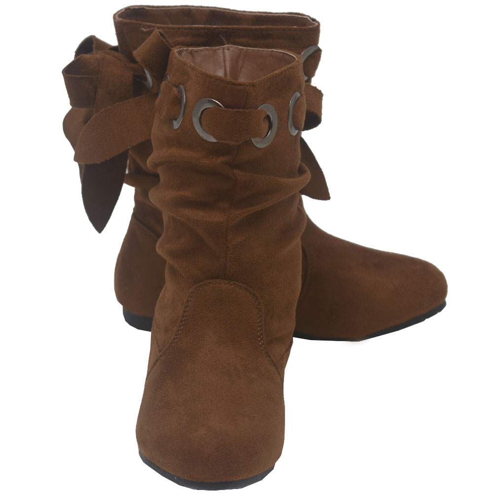 Anna Girls Tan Grommet Eyelet Bow Faux Suede Boots 11-4 Kids