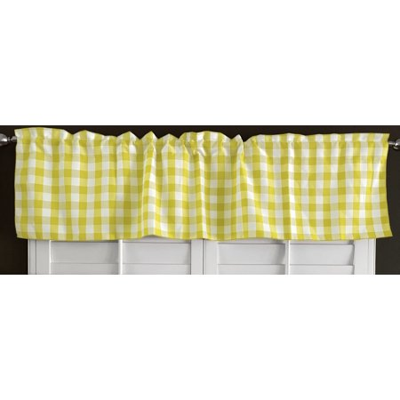 poplin gingham checkered window valance 58 wide light yellow](Yellow Gingham)