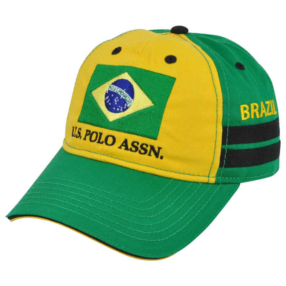 US Polo Association Assn Country Brazil Flag Clip Buckle Garment Wash Hat Cap