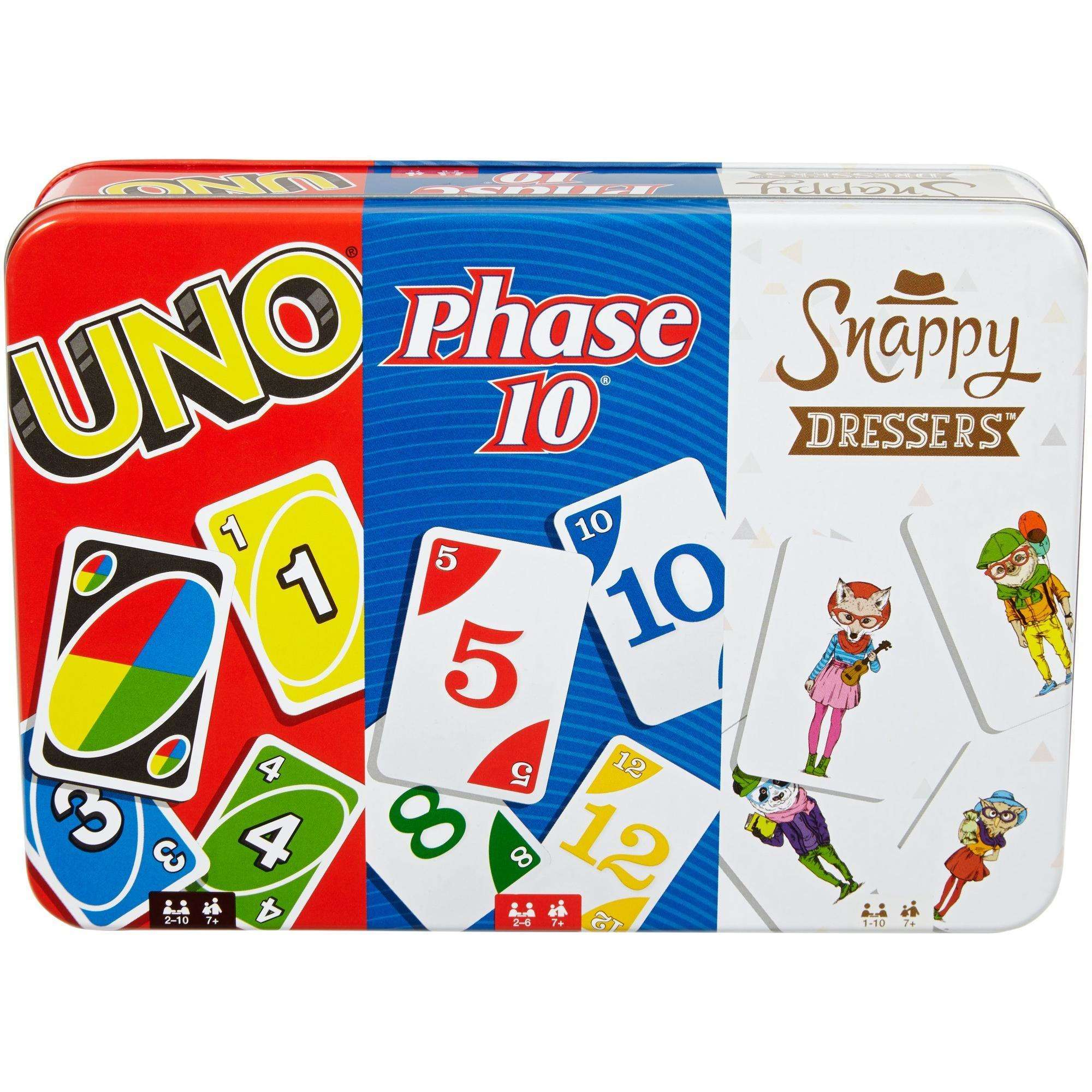 UNO, Phase 10, and Snappy Dressers Collector Tin