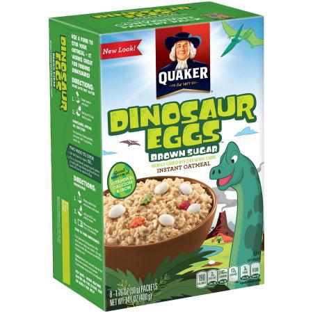 (4 Pack) Quaker Instant Oatmeal, Brown Sugar Dinosaur Eggs, 8 Packets