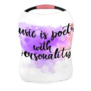 ECZJNT Music is poetry inspirational quote music Lettering wall poster Nursing Cover Baby Breastfeeding Infant Feeding Cover Baby Car Seat Cover