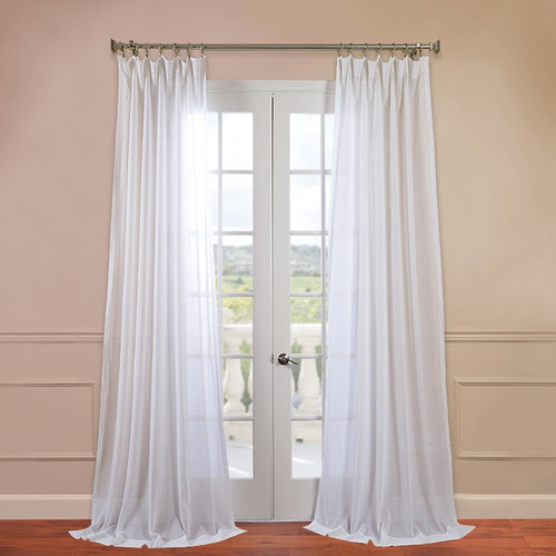 Half Price Drapes Faux Linen Sheer Single Rod Pocket Curtain Panel