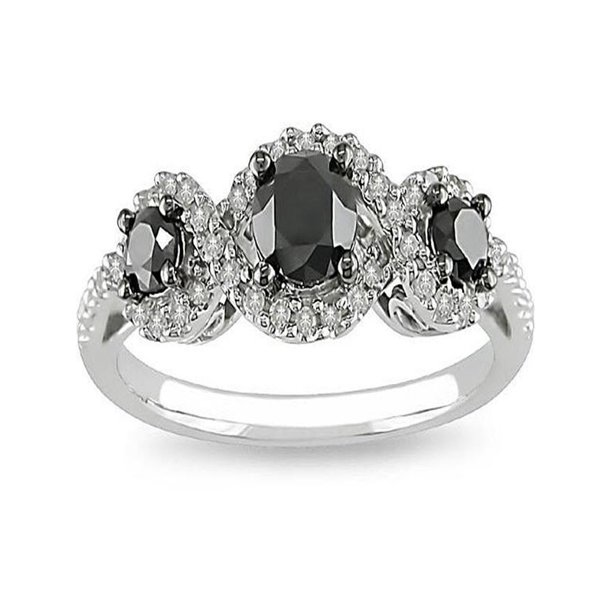 Jeenjewels Sparkling Three Stone Trilogy Black Diamond Inexpensive Three Stone Engagement Ring 1 Carat Round Cut Diamond On Gold Walmart Com Walmart Com