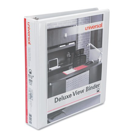 Universal Deluxe Round Ring View Binder, 1-1/2