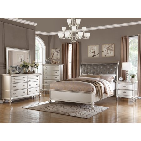 Royal Antique Silver Color 4pc Bedroom Set California King Size Bed Dresser  Mirror Nightstand Accent Tufted HB bedframe