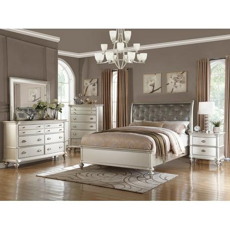 Royal Antique Silver Color 4pc Bedroom Set California King
