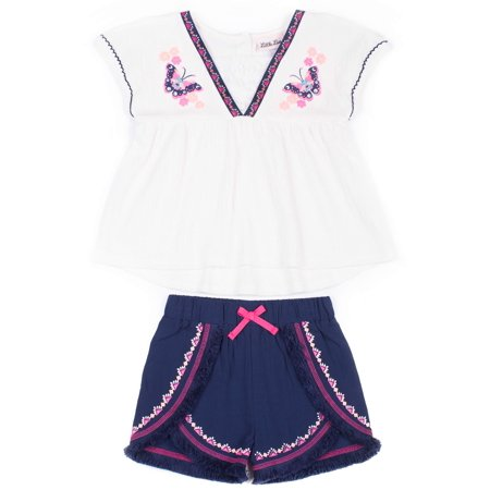 Sleeveless Embroidered Top & Shorts, 2-Piece Outfit Set (Toddler