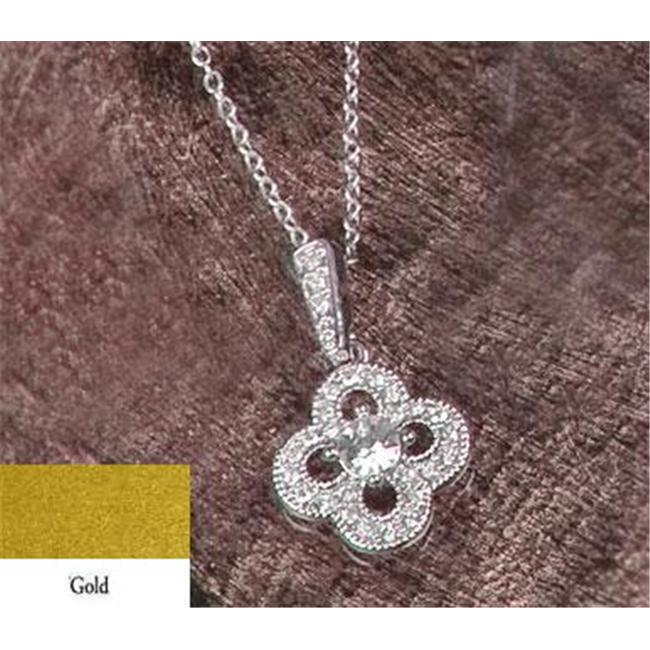 Beverly Clark 56-2215/GOL Ivy Lane Design Wedding Jewelry - Crystal Clover Necklace Pendant - Gold