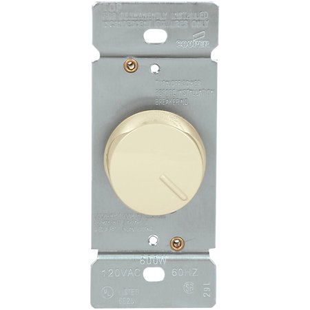 Cooper Wiring Devices RI061-A Dimmer Rotary SP 600W 120V Non-Pset AL