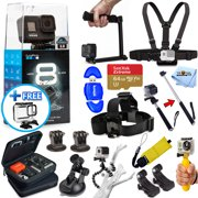 GoPro HERO8 HERO 8 Black Edition All In 1 PRO ACCESSORY KIT with SanDisk 64GB, 3-Way Tripod, Medium Case, Head and Chest Strap, Selfie Stick and Much More