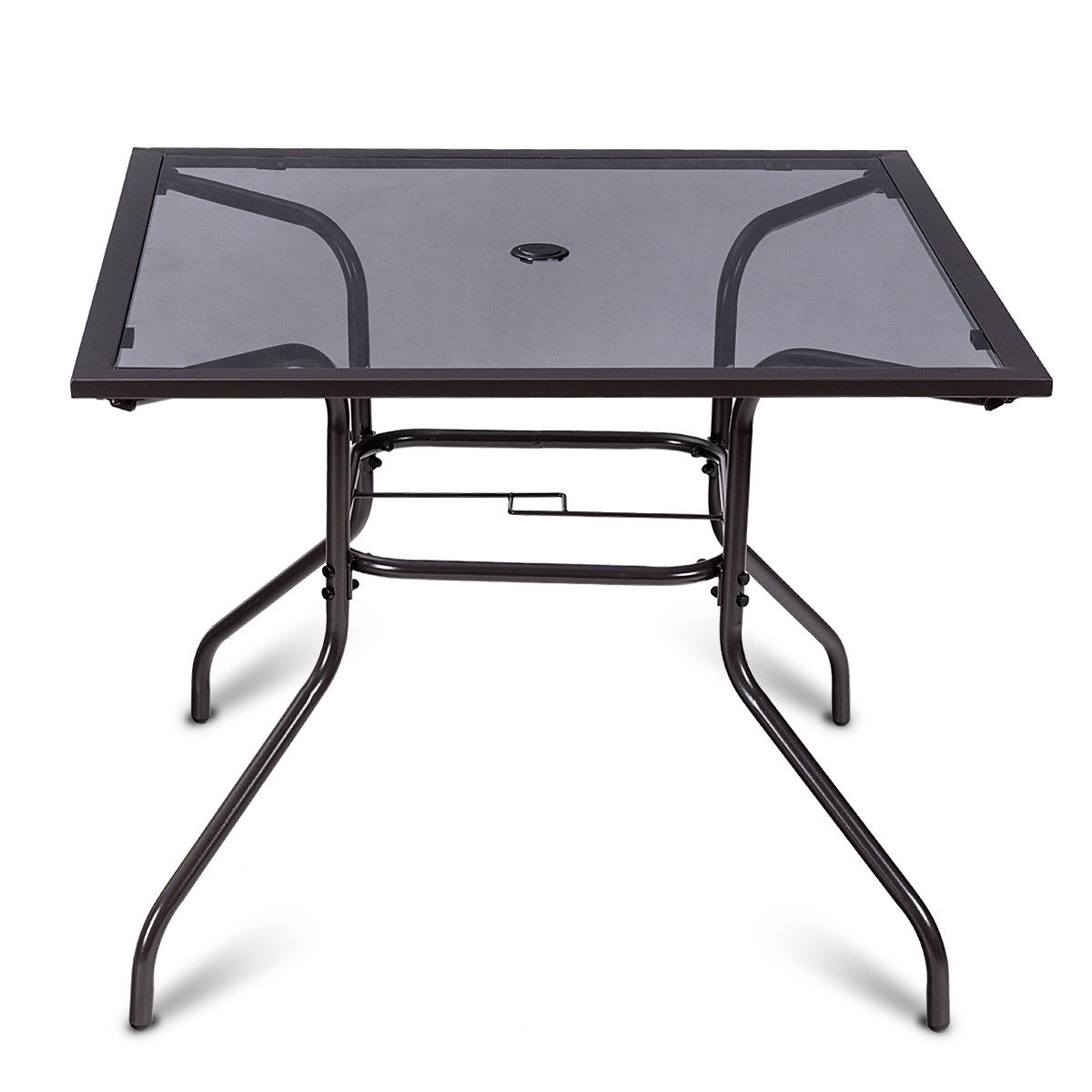 Costway 37 1/2'' Square Dining Table Glass Top Deck Patio Yard Garden Outdoor Furniture