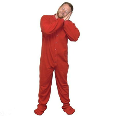 a5ddbbfe06a0 MyPartyShirt - MyPartyShirt Red Fleece Adult Footed Pajamas Footie Drop  Seat Mens Womens PJs Soft Comfy - Walmart.com
